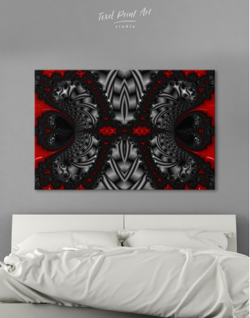 Abstract Black and Red Ornaments Canvas Wall Art - image 2