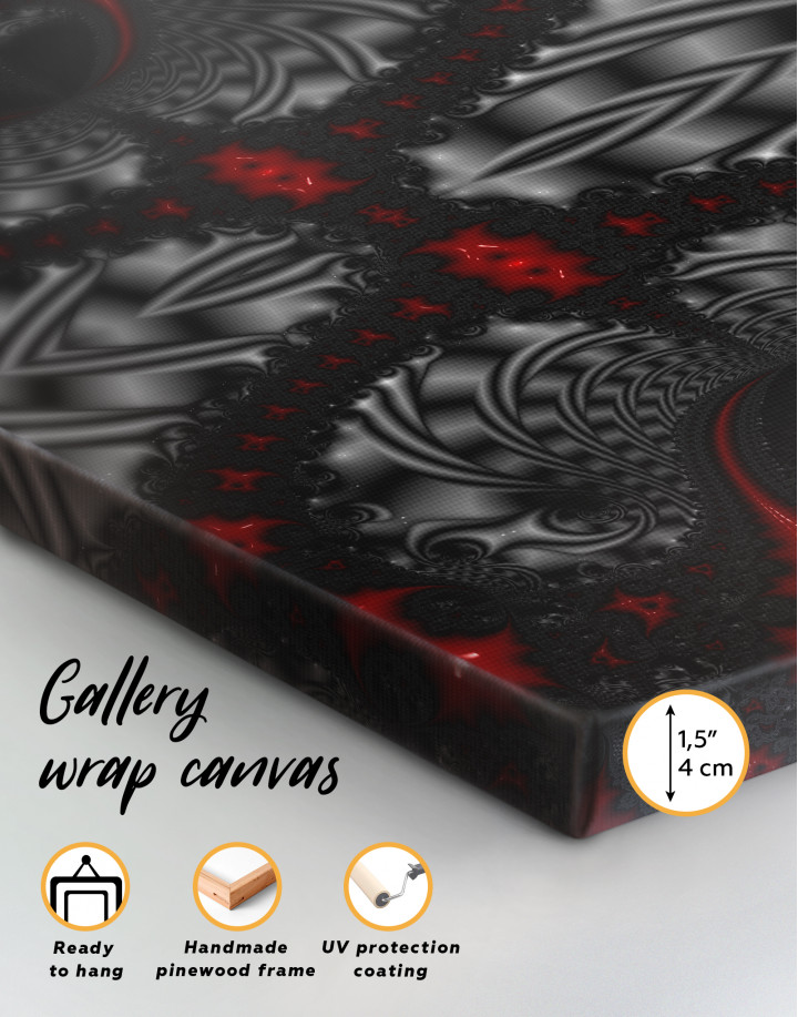 Abstract Black and Red Ornaments Canvas Wall Art - Image 1