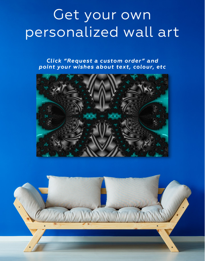 Abstract Black and Red Ornaments Canvas Wall Art - Image 5