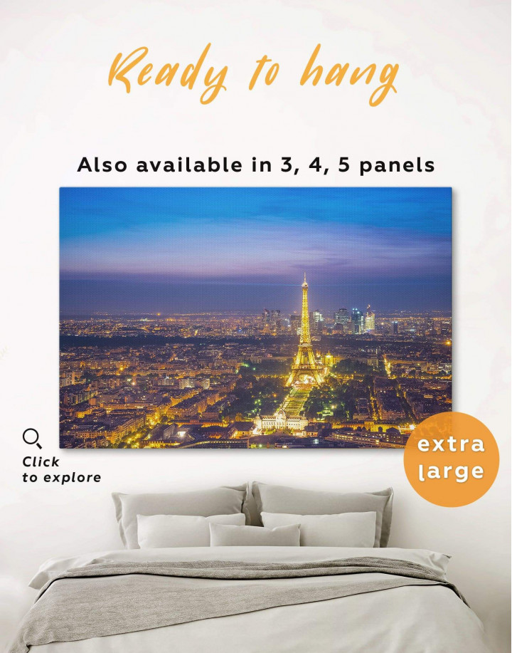 Night Paris Eiffel Tower Cityscape Canvas Wall Art - Image 0
