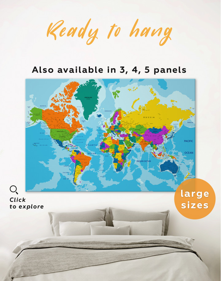 Unusual Detailed Map of the World Canvas Wall Art
