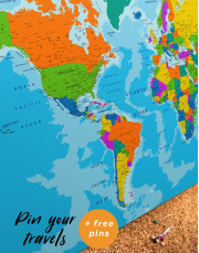 Unusual Detailed Map of the World Canvas Wall Art - Image 3