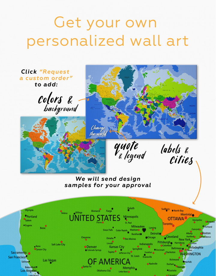 Unusual Detailed Map of the World Canvas Wall Art - Image 2