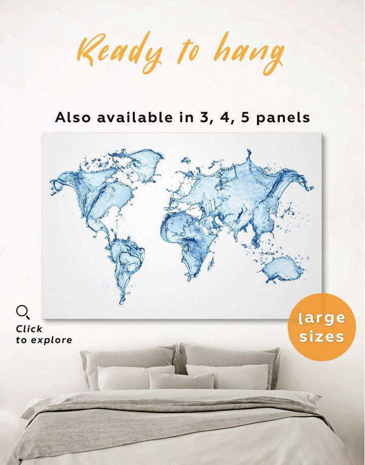 Water World Map Canvas Wall Art - Image 0
