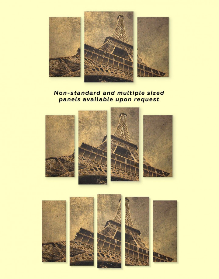 Old-Style Eiffel Tower Canvas Wall Art - Image 2
