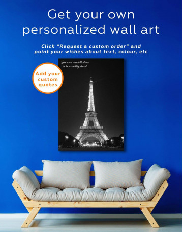 Eiffel Tower at Night Canvas Wall Art - image 1
