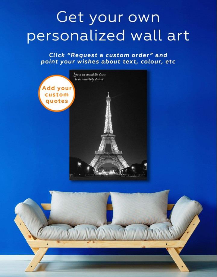 Eiffel Tower at Night Canvas Wall Art - Image 1