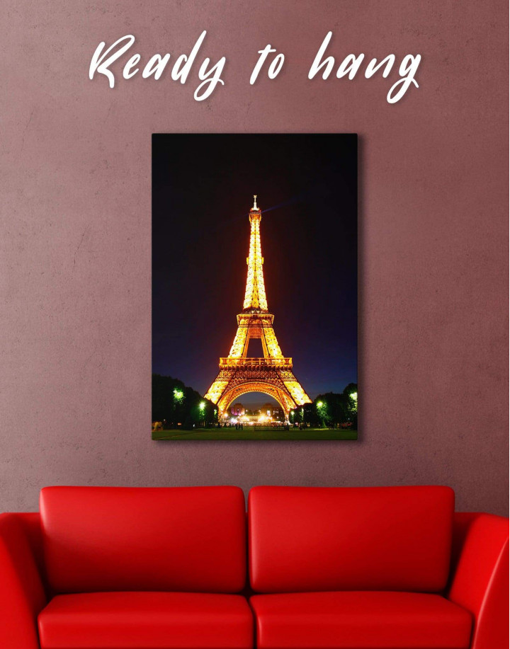 Eiffel Tower at Night Canvas Wall Art - Image 3