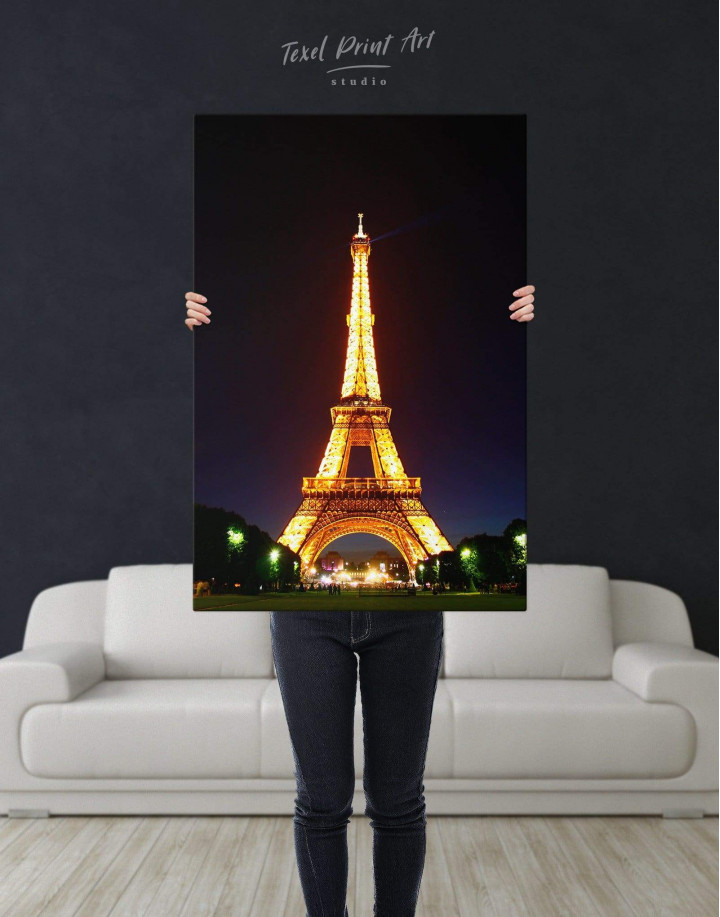 Eiffel Tower at Night Canvas Wall Art - Image 2
