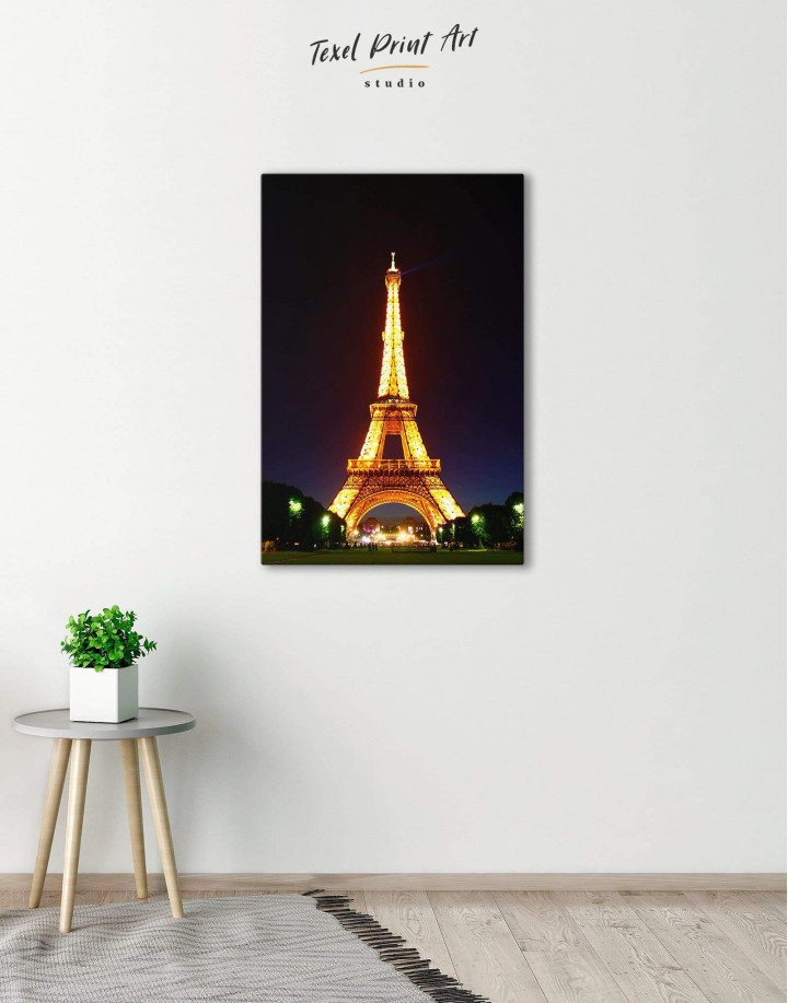Eiffel Tower at Night Canvas Wall Art - Image 0