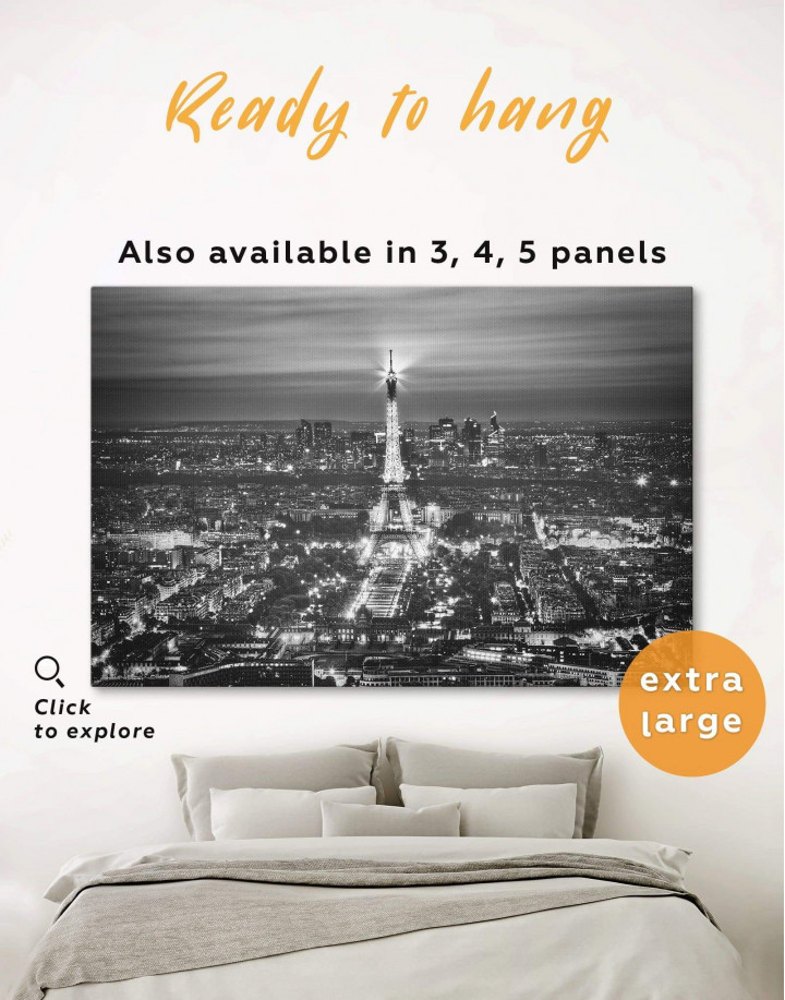 Black and White Eiffel Tower Canvas Wall Art - Image 0