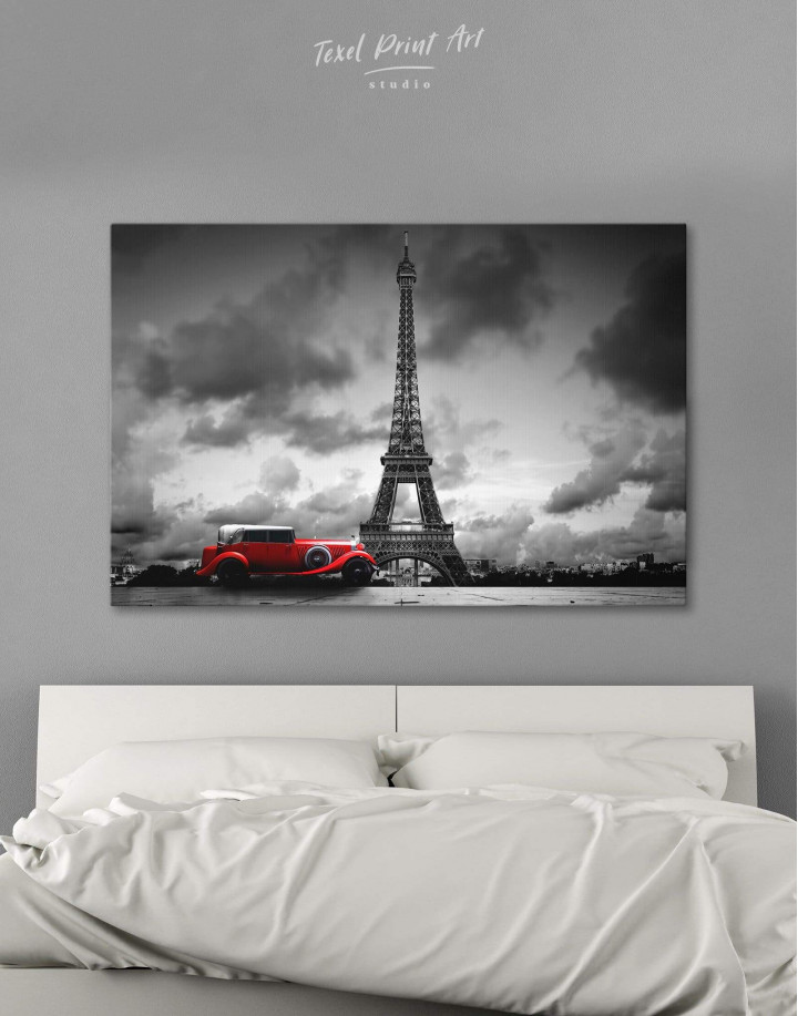 Eiffel Tower in the Gray Clouds Canvas Wall Art - Image 6