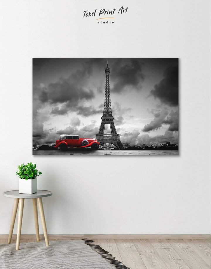 Eiffel Tower in the Gray Clouds Canvas Wall Art - Image 0