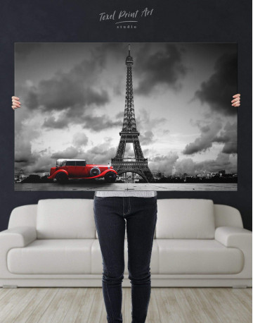 Eiffel Tower in the Gray Clouds Canvas Wall Art - image 5