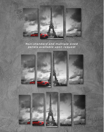 Eiffel Tower in the Gray Clouds Canvas Wall Art - image 2