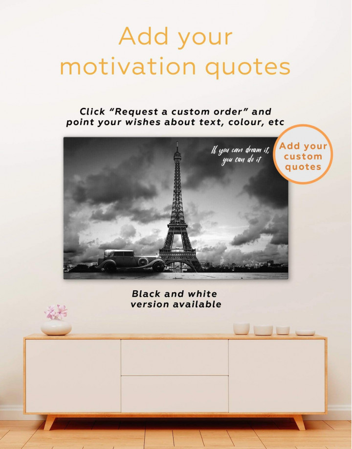 Eiffel Tower in the Gray Clouds Canvas Wall Art - Image 1