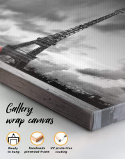 Eiffel Tower in the Gray Clouds Canvas Wall Art - Image 4