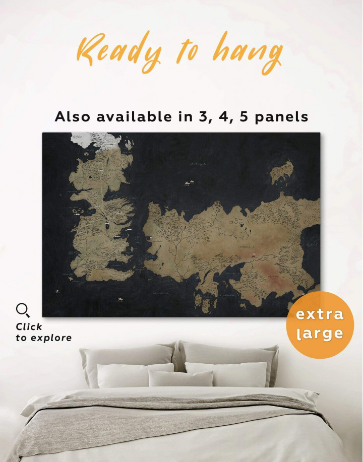 Game of Thrones Westeros Map Canvas Wall Art - Image 0