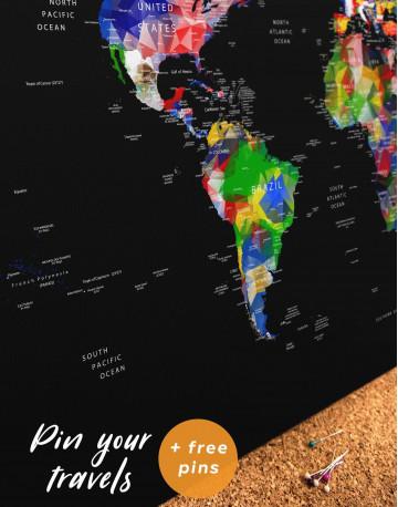 Geometric Push Pin World Map Canvas Wall Art - image 4