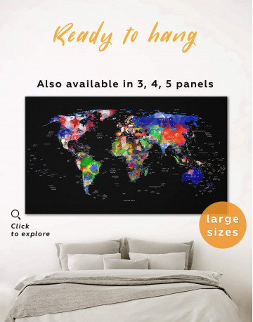 Geometric Push Pin World Map Canvas Wall Art