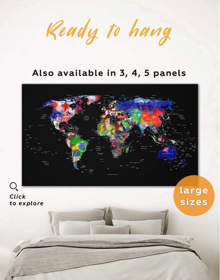 Geometric Push Pin World Map Canvas Wall Art - Image 0