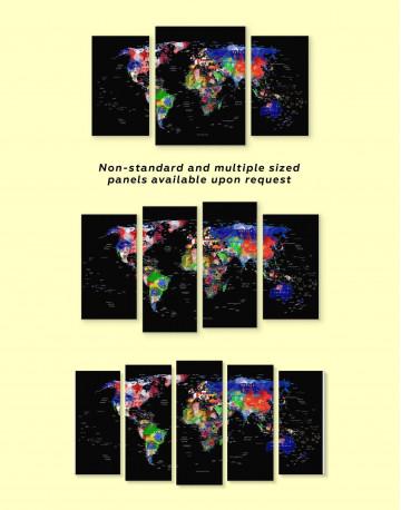Geometric Push Pin World Map Canvas Wall Art - image 1