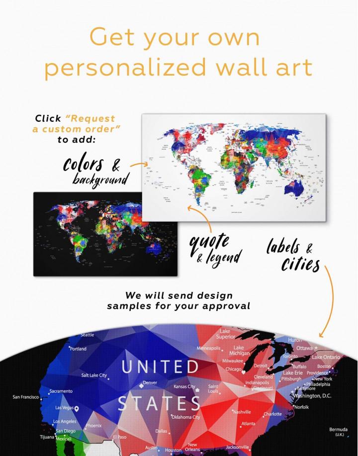 Geometric Push Pin World Map Canvas Wall Art - Image 2