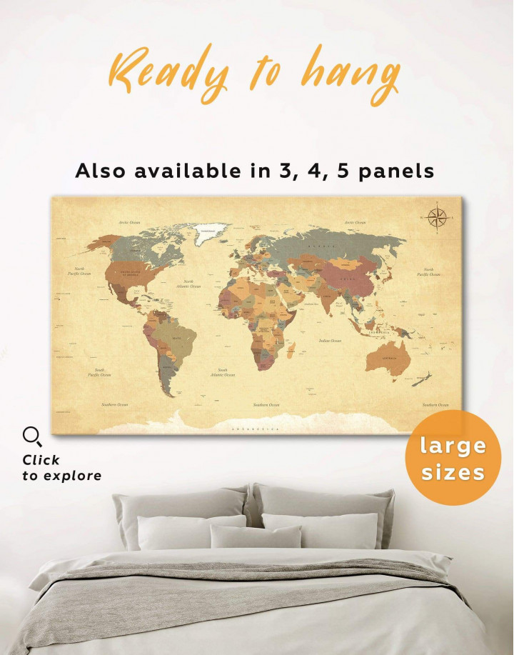Modern Rustic World Map Canvas Wall Art - Image 0