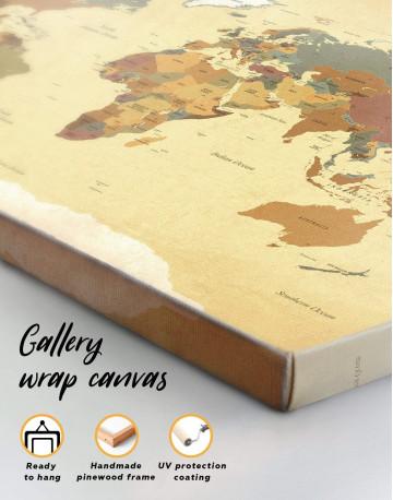 Modern Rustic World Map Canvas Wall Art - image 1