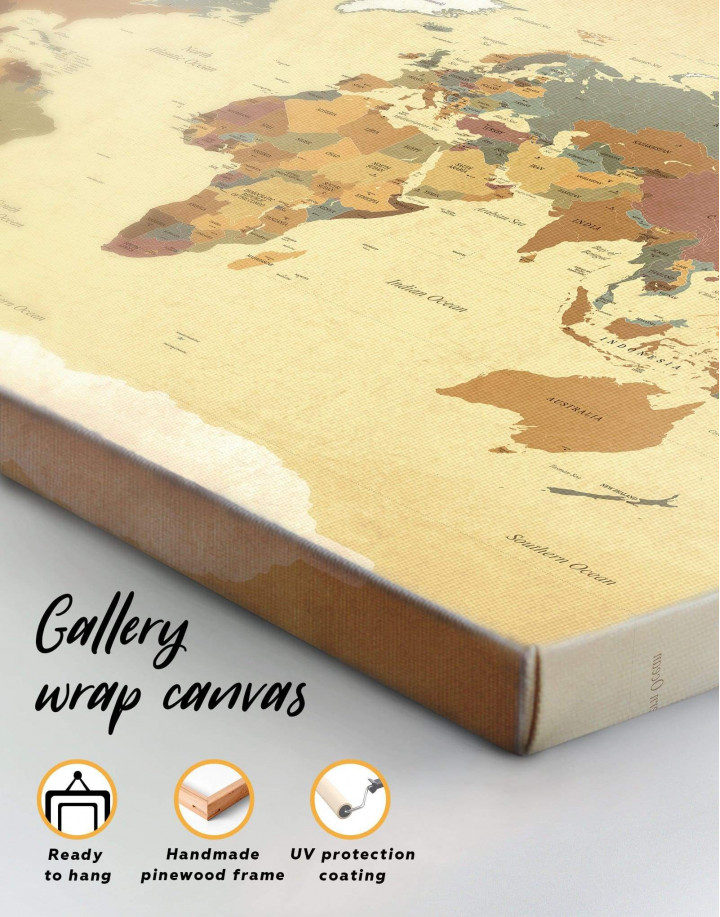 Modern Rustic World Map Canvas Wall Art - Image 1
