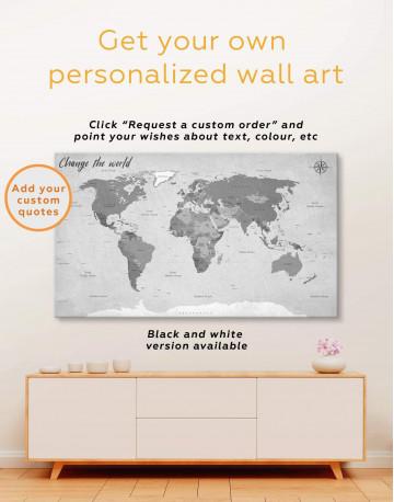 Modern Rustic World Map Canvas Wall Art - image 3