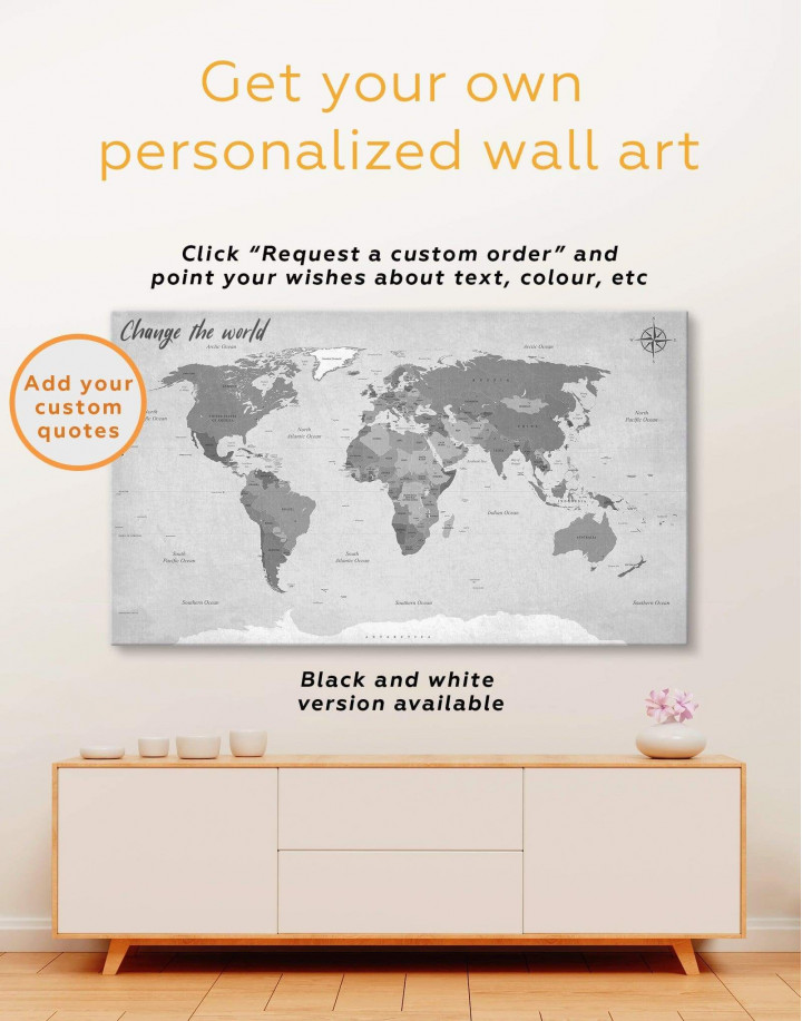 Modern Rustic World Map Canvas Wall Art - Image 3