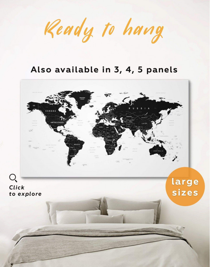Black Large Detailed World Map Canvas Wall Art - Image 0