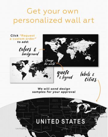 Black Large Detailed World Map Canvas Wall Art - image 2