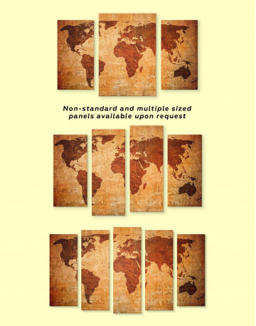 Brown Rustic World Map Canvas Wall Art - image 2