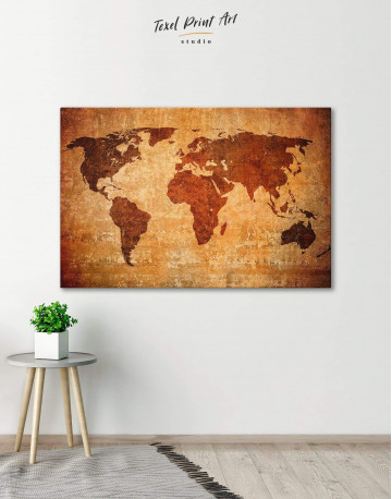 Brown Rustic World Map Canvas Wall Art - image 5