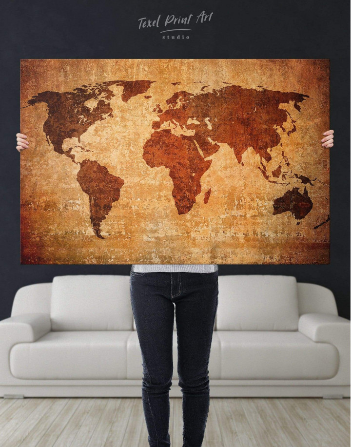 Brown Rustic World Map Canvas Wall Art - Image 4