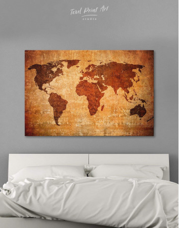 Brown Rustic World Map Canvas Wall Art