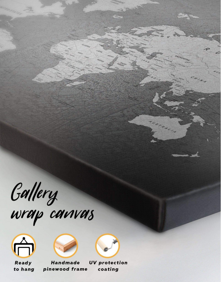 Grey Push Pins World Map Canvas Wall Art - Image 4
