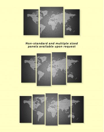 Grey Push Pins World Map Canvas Wall Art - image 2