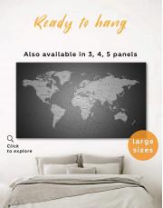 Grey Push Pins World Map Canvas Wall Art - Image 0
