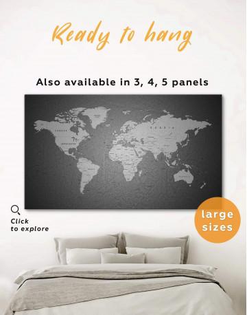 Grey Push Pins World Map Canvas Wall Art