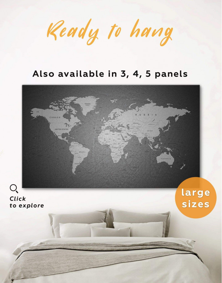 Grey Push Pins World Map Canvas Wall Art - Image 0