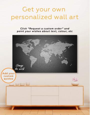 Grey Push Pins World Map Canvas Wall Art - image 1