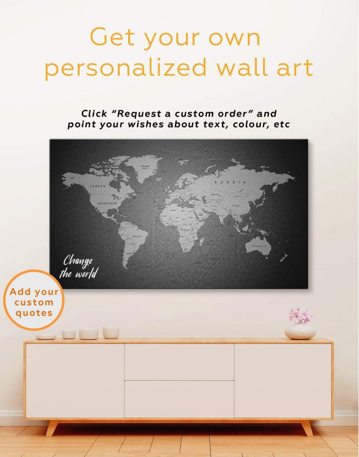 Grey Push Pins World Map Canvas Wall Art - Image 1