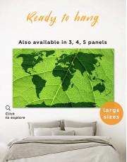 Green Leaf World Map Canvas Wall Art