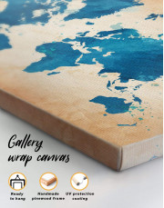 Blue Watercolor World Map Canvas Wall Art - Image 3