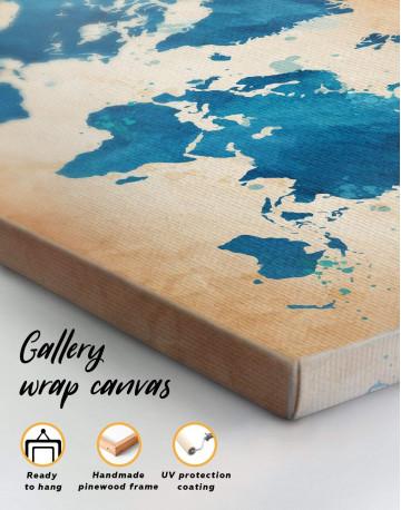 Blue Watercolor World Map Canvas Wall Art - image 4