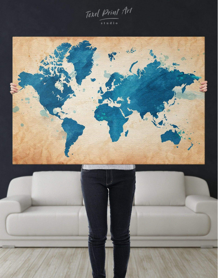Blue Watercolor World Map Canvas Wall Art - Image 2