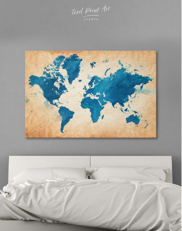 Blue Watercolor World Map Canvas Wall Art
